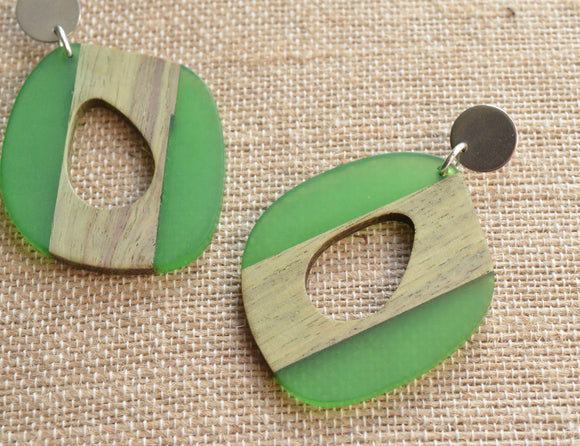 Green Lucite Wood Statement Earrings Big Acrylic Earrings Large Earrings Gifts For Women - Meyer
