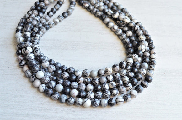 Black Statement Necklace, Gray Bead Necklace, Chunky Necklace, Stone Necklace, Multi Strand, Gift For Woman - Michelle