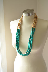 Green Gold Statement Necklace Long Beaded Necklace Wood Multi Strand Necklace - Britanni