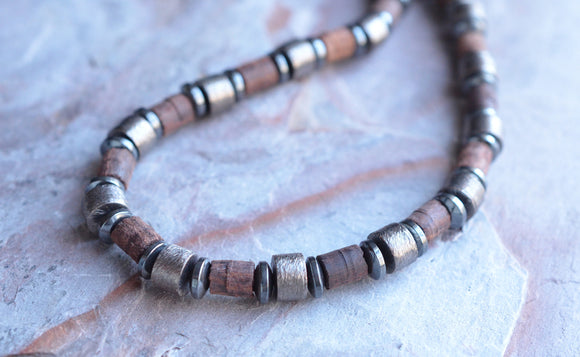 Copper Mens Necklace Beaded Wood Necklace Man Necklace Gifts For Men - Alphonso