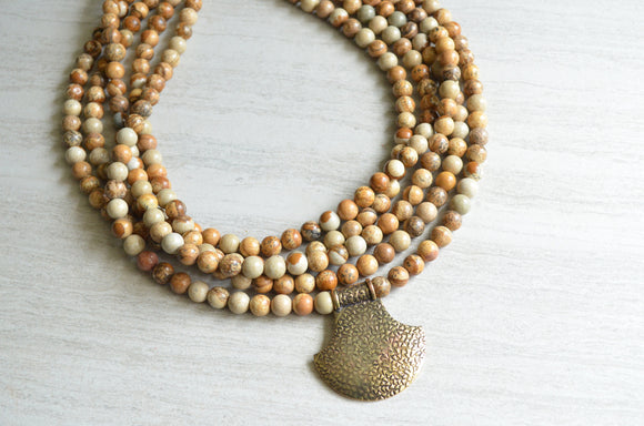 Brown Statement Necklace, Beaded Chunky Necklace, Jasper Necklace, Stone Necklace, Gold Pendant Necklace