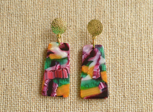 Multi Color Statement Earrings Resin Lucite Earrings Acrylic Gold Earrings Gifts For Her - Nevaeh