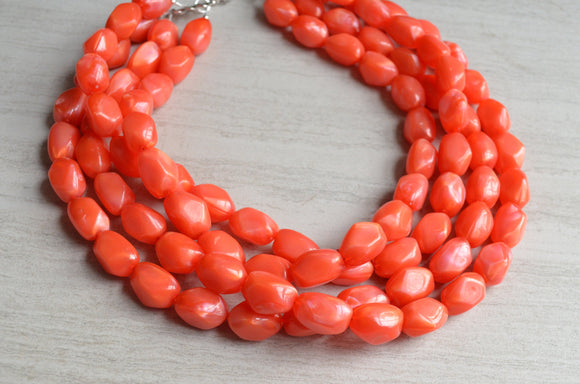 Orange Statement Necklace, Lucite Bead Necklace, Chunky Necklace, Acrylic Necklace, Gift For Women - Penelope