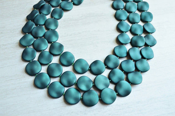 Dark Green Statement Necklace Rubber Beaded Necklace Acrylic Matte Multi Strand - Charlotte