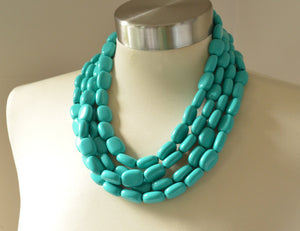Turquoise Green Statement Necklace Lucite Beaded Necklace Chunky Multi Strand Necklace - Lauren