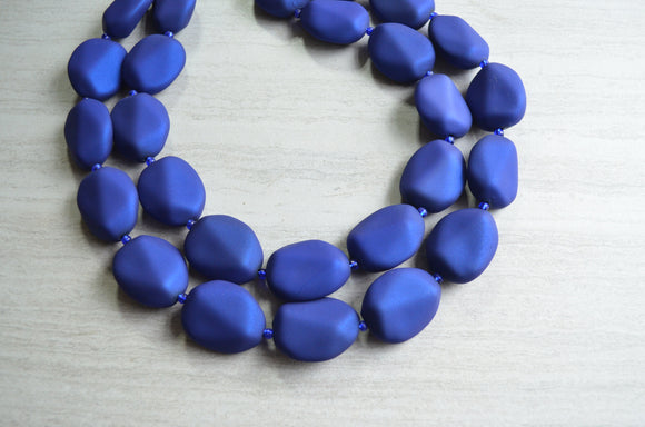Cobalt Blue Statement Necklace Beaded Rubber Necklace Matte Acrylic Necklace  - Nikki