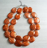 Burnt Orange Statement Necklace Acrylic Beaded Necklace Chunky Multi Strand Necklace Gifts For Women - Amber