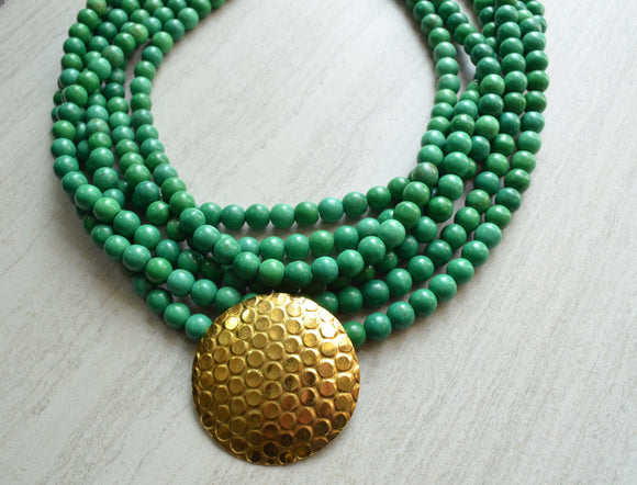 Green Statement Necklace Beaded Pendant Necklace Chunky Multi Strand Necklace - Cadence