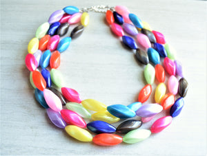 Multi Color Statement Necklace,  Beaded Necklace, Acrylic Necklaces, Lucite Jewelry, Colorful Necklace, Gift For Woman - Bella