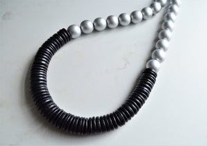 Silver Black Statement Necklace Chunky Bead Necklace Long Wood Necklace Gift For Her - Elena