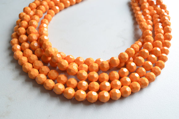 Yellow Orange Statement Necklace Beaded Acrylic Necklace Lucite Chunky Necklace Gifts For Her - Angelina