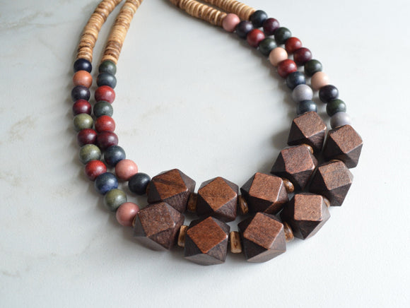 Wood Necklace, Statement Necklace, Chunky Necklace, Wooden Necklace, Multi Strand, Boho Jewelry - Riley