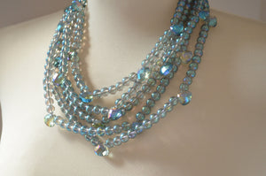 Blue Green Statement Necklace Crystal Beaded Necklace Glass Multi Strand Necklace