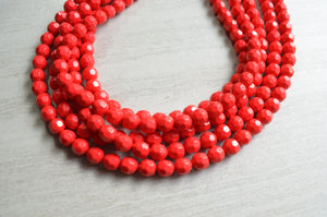 Red Statement Necklace Beaded Acrylic Necklace Lucite Chunky Necklace Gifts For Her - Angelina