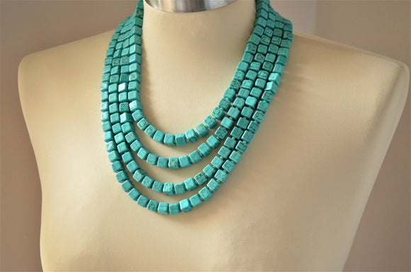 Turquoise Statement Necklace Beaded Chunky Necklace Cube Necklace Multi Strand Necklace  - Cubist