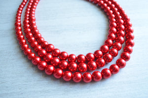 Red Statement Necklace Beaded Pearl Necklace Chunky Multi Strand Necklace Bridesmaid Gifts - Julianne
