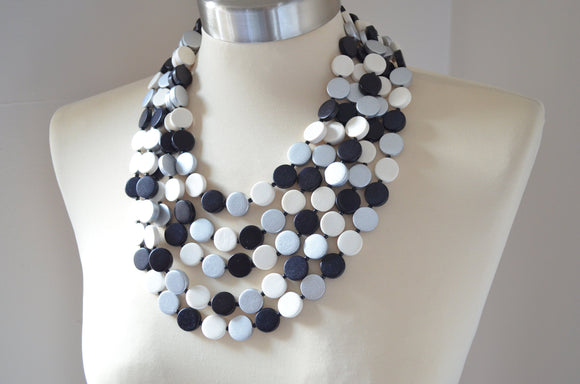 Black Silver White Statement Necklace Wood Beaded Necklace Chunky Multi Strand Necklace - Charlotte