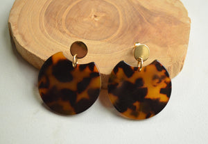 Tortoise Shell Earrings, Statement Earrings, Lucite Big Earrings, Acrylic Earrings, Gift For Her - Hanna