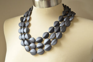 Gray Statement Necklace, Matte Acrylic Necklace, Pewter Beaded Necklace, Lucite Multi Strand, Chunky Necklace - Minnie
