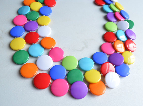 Multi Color Statement Necklace Beaded Colorful Necklace Chunky Multi Strand Necklace Gift For Her - Charlotte