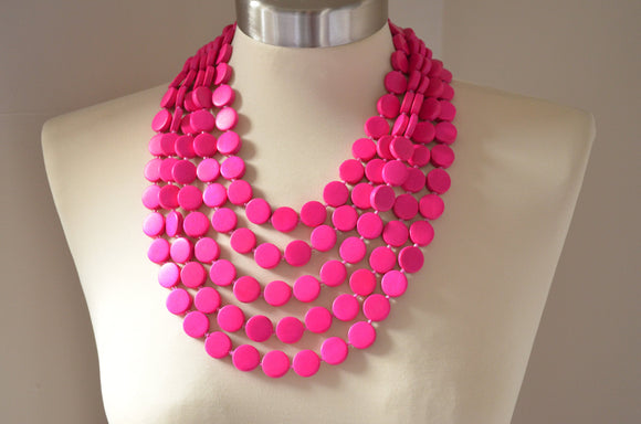 Hot Pink Statement Necklace Wood Beaded Necklace Chunky Multi Strand Necklace - Charlotte