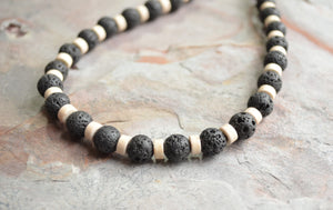Lava Rock Necklace, Mens Surfer Necklace, White Beaded Necklace, Stone Necklace, Gift For Him - Mac