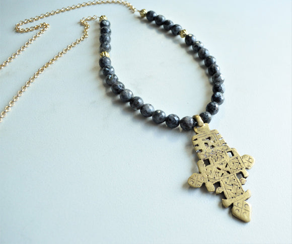 Gray Cross Necklace, Statement Necklace, Long Necklace, Stone Necklace, Gold Chain Necklace, Boho Jewelry - Imi