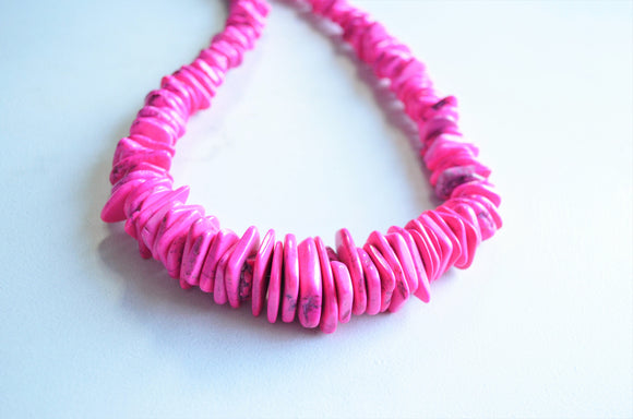 Pink Statement Necklace, Chunky Bead Necklace, Graduated Necklace, Stone Necklace, Gift For Woman - Ghana
