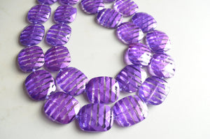 Purple Statement Necklace, Acrylic Necklace, Beaded Necklace, Chunky Necklace, Multi Strand, Gift For Woman - Amber