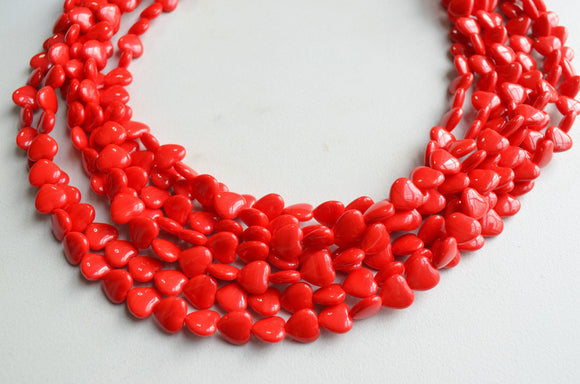 Red Heart Necklace, Statement Necklace, Glass Necklace, Bead Necklace, Valentines Day, Valentines Gift