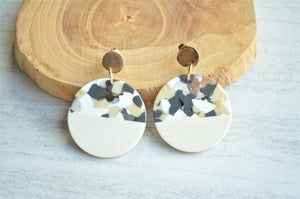 Cream Gray Statement Earrings Big Lucite Earrings Large Acrylic Earrings Gift For Woman - Orville