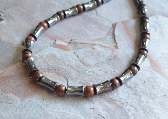 Mens Beaded Necklace, Hematite Necklace, Jasper Necklace, Man Necklace, Stone Necklace, Gift For Him - Marco