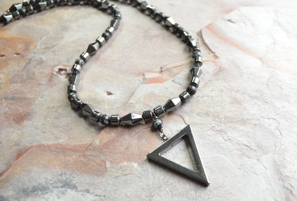 Mens Pendant Necklace, Beaded Necklace, Stone Necklace, Hematite Necklace, Gift For Him