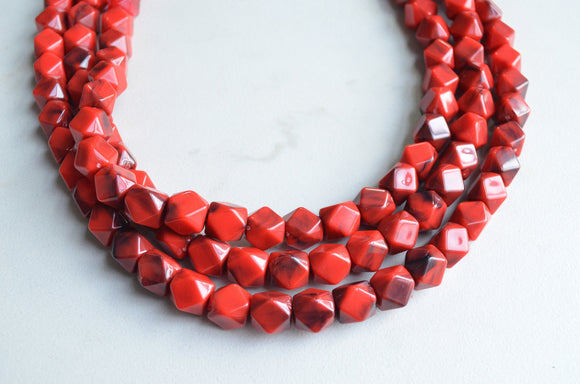 Red Statement Necklace, Beaded Acrylic Necklace, Multi Strand Necklace, Chunky Necklace, Gift For Her - Verti