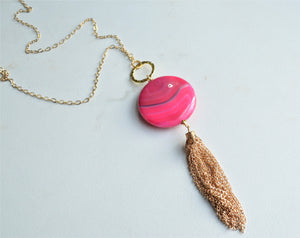 Pink Tassel Necklace, Statement Necklace, Agate Necklace, Pendant Necklace, Long Chain Necklace, Gift For Her - Sadie