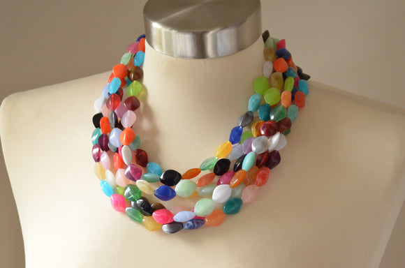 Multi Color Statement Necklace, Lucite Beaded Necklace, Multi Strand Necklace, Chunky Colorful Necklace - Minnie