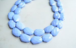 Blue Bead Necklace, Statement Necklace, Acrylic Necklace, Lucite Necklace, Gift For Woman - Jane