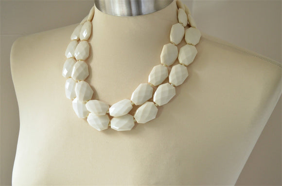 Ivory Bead Necklace, Statement Necklace, Acrylic Necklace, Lucite Necklace, Gift For Woman - Jane
