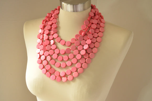 Pink Statement Necklace, Wood Bead Necklace, Wooden Necklace, Multi Strand,  Bridesmaid Gifts - Charlotte