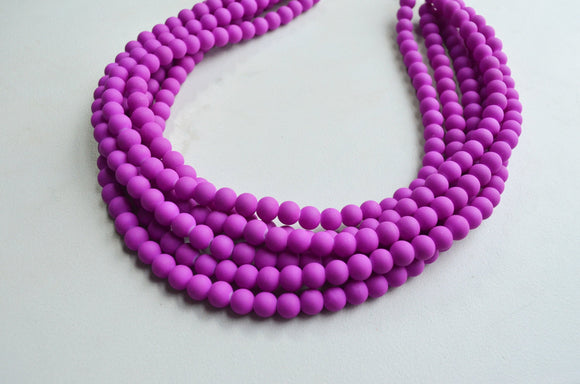 Purple Statement Necklace, Pink Bead Necklace, Rubber Necklace, Matte Chunky Necklace, Gift For Wife - Michelle