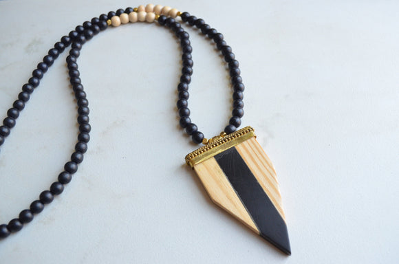 Wood Statement Necklace, Long Necklace, Pendant Necklace, Arrowhead Necklace, Boho Necklace