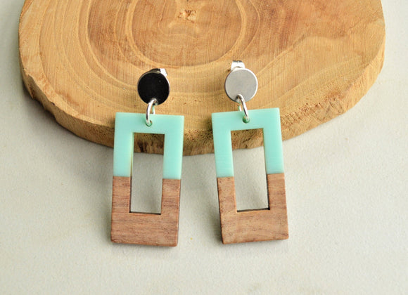 Mint Green Statement Earrings, Lucite Wood Earrings, Big Acrylic Earrings, Large Earrings, Gift For Women - Maya