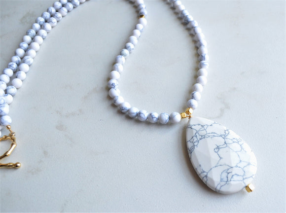 White Statement Necklace, Long Beaded Necklace, Howlite Necklace, Pendant Necklace, Stone Necklace - Ultimo