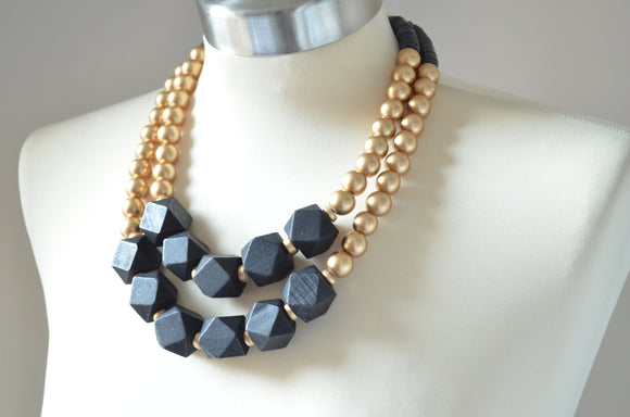 Gold Statement Necklace, Black Chunky Necklace, Beaded Wood Necklace, Multi Strand Necklace, Gift For Woman - Riley