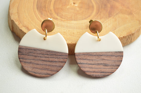 White Statement Earrings, Lucite Wood Earrings, Ivory Earrings, Big Earrings, Acrylic Earrings, Gift For Women - Hanna