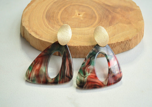 Red Green Statement Earrings Lucite Big Earrings Acrylic Large Earrings Gift For Women - Erica
