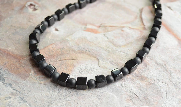 Black Stone Necklace, Bead Mens Necklace, Man Necklace, Gift For Him, Man Jewelry