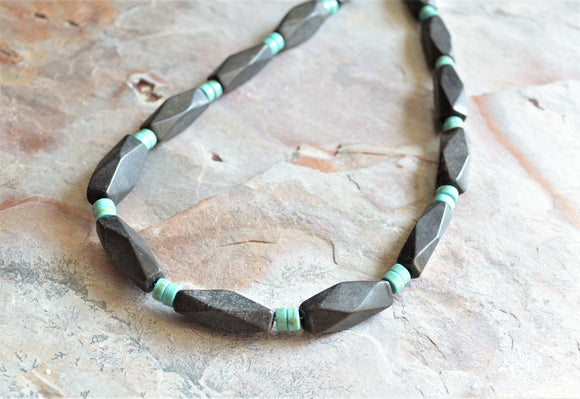 Turquoise Mens Necklace, Bead Necklace, Stone Necklace, Surfer Necklace, Man Jewelry, Gift For Him - Jace