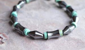 Turquoise Bracelet, Mens Bracelet, Bead Bracelet, Hematite Bracelet, Jewelry Set, Mens Necklace, Gift For Husband - Luca