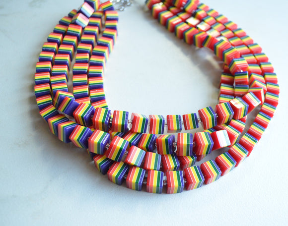 Rainbow Statement Necklace, Colorful Necklace, Chunky Necklace, Cube Necklace, Multi Strand, Gift For Her